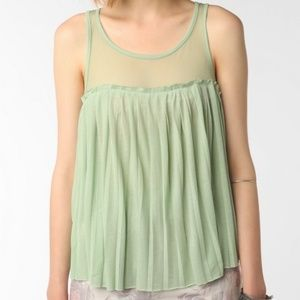 Pins and Needles Pleated Mesh Trimmed Tank